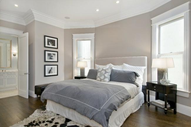 aménagement déco chambre gris et blanc