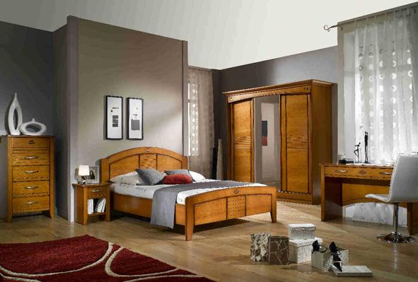 aménagement déco chambre meuble merisier