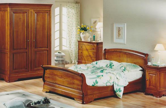 organisation déco chambre meuble merisier