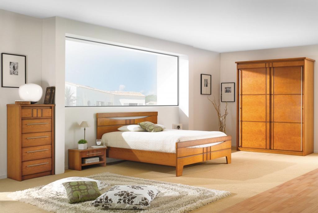 photo déco chambre meuble merisier