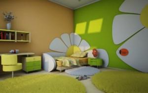 Déco chambre vert et jaune