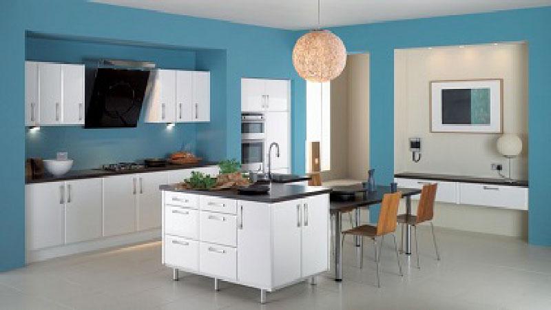 agencement déco cuisine bleue