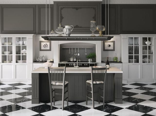 modèle déco cuisine en gris