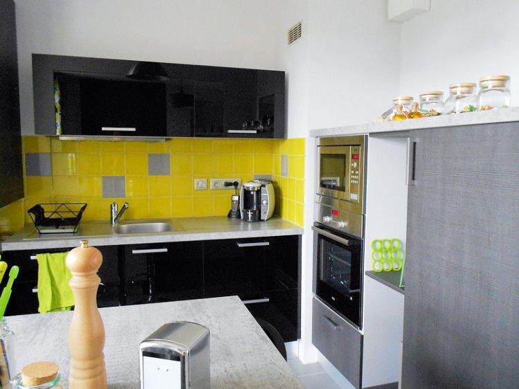 Déco cuisine jaune et gris