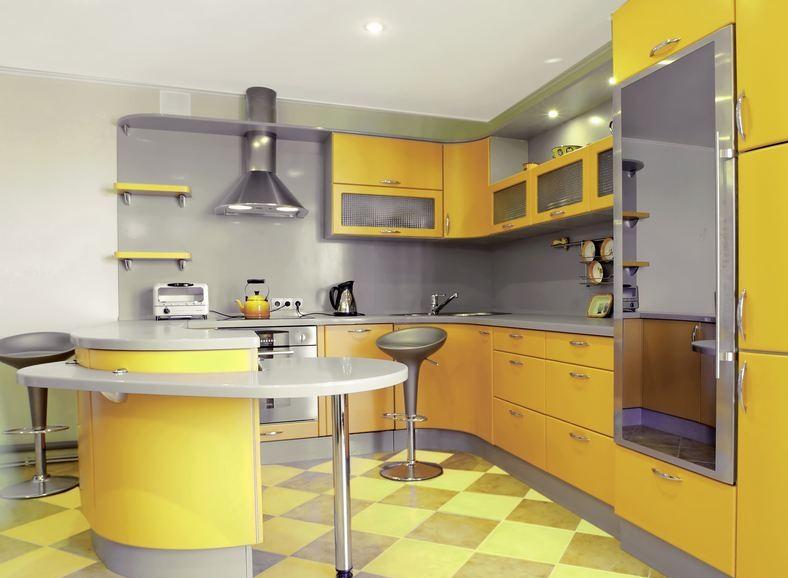 idée déco cuisine jaune et gris