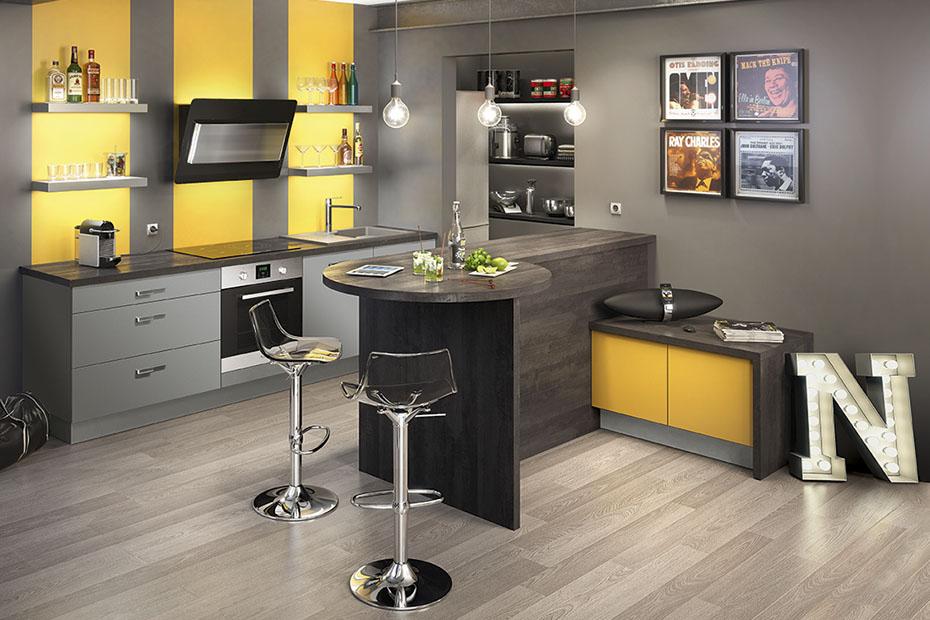 exemple déco cuisine jaune et gris