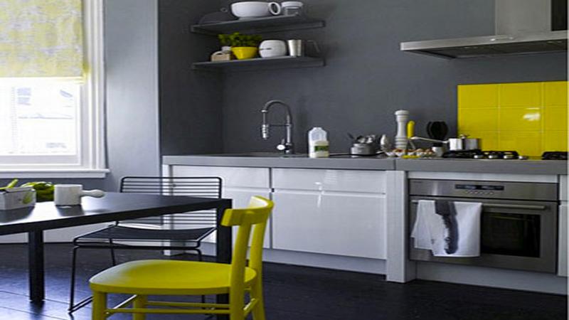univers déco cuisine jaune et gris
