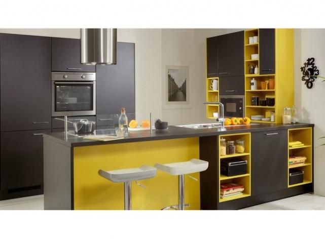 agencement déco cuisine jaune et gris