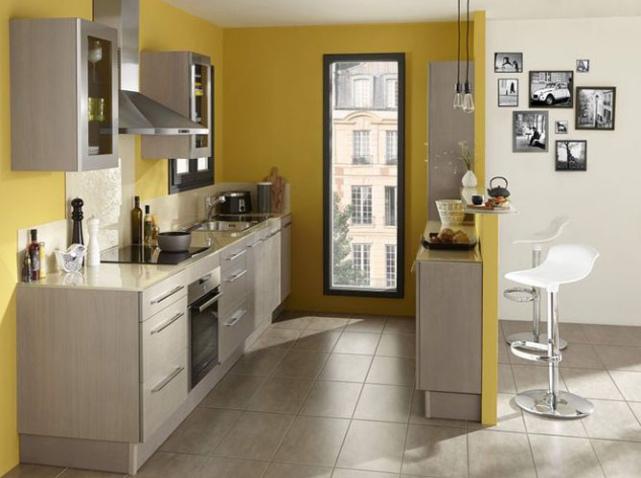 organisation déco cuisine jaune et gris