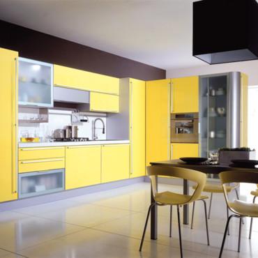 photo déco cuisine jaune et gris