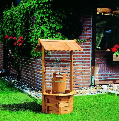 aménagement déco jardin puit en bois