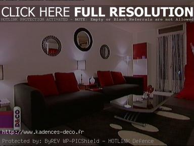 aménagement déco maison gris et rouge