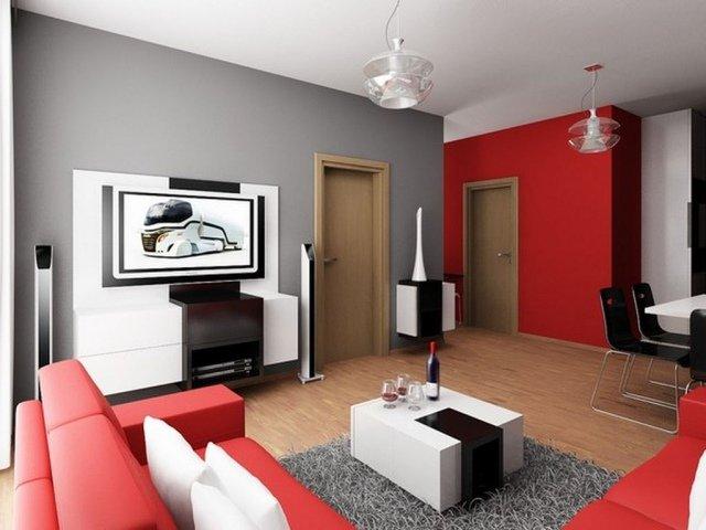 exemple déco maison gris et rouge