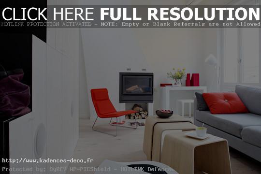 photo déco maison gris et rouge