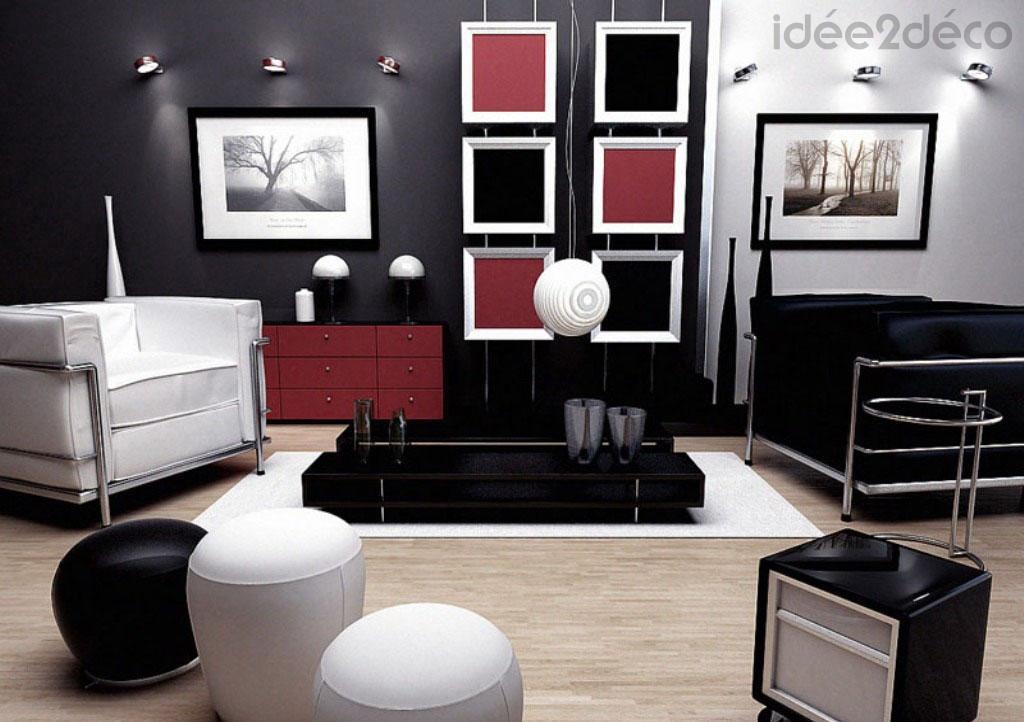 agencement déco maison noir blanc gris