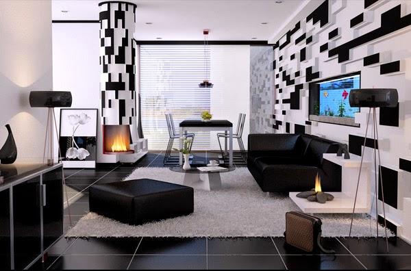 photo déco maison noir blanc gris