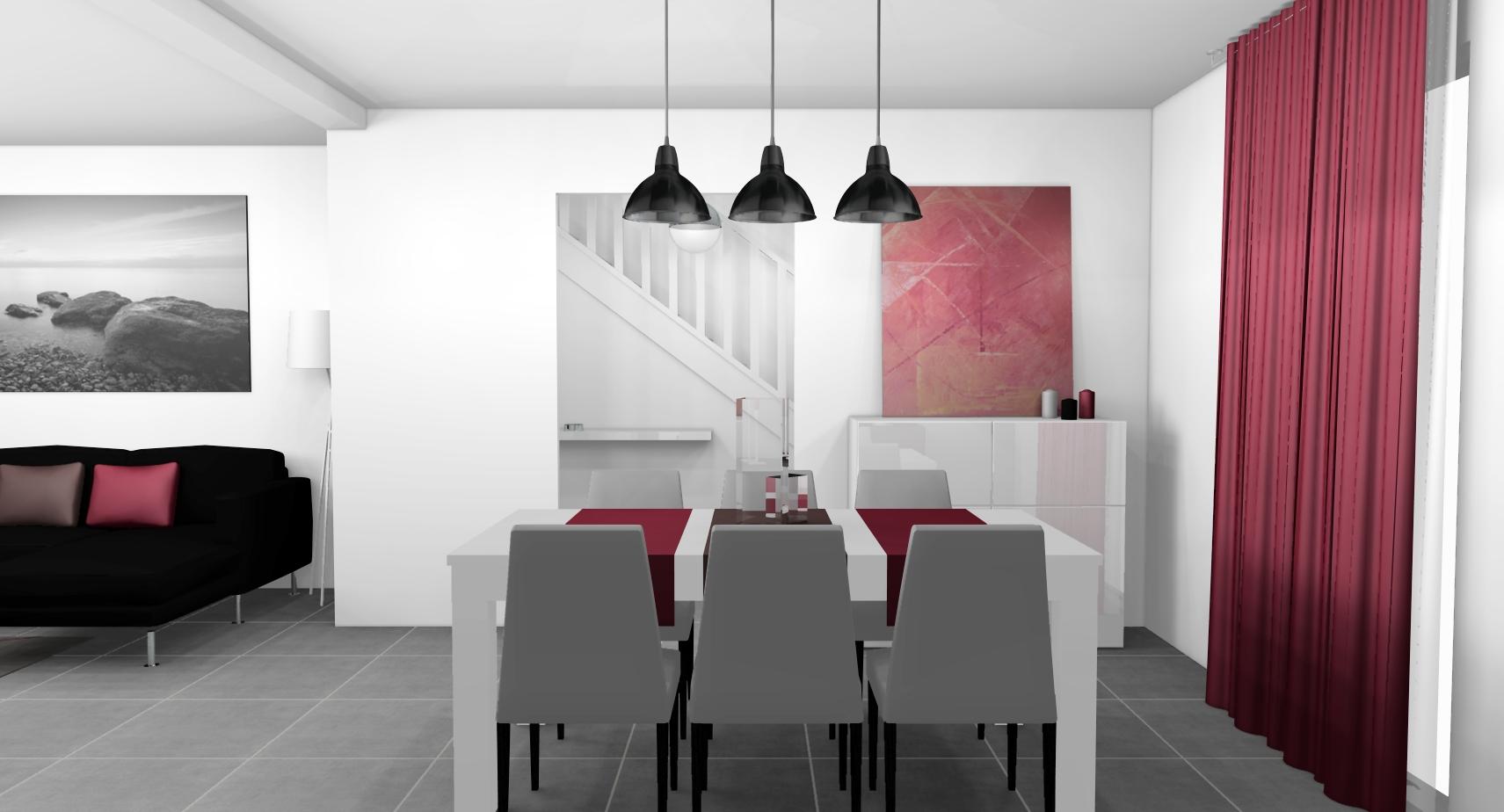 idée déco salle a manger gris et rouge