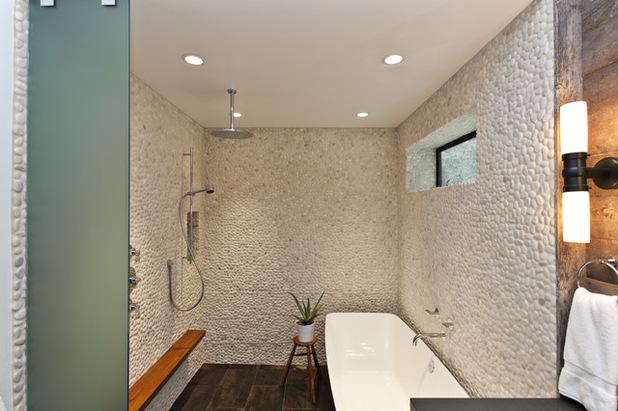 idée déco salle de bain avec galets