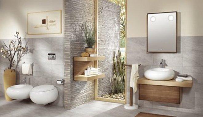 agencement déco salle de bain avec galets