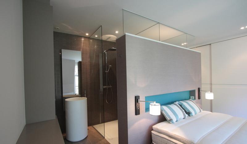 organisation déco salle de bain ouverte sur chambre