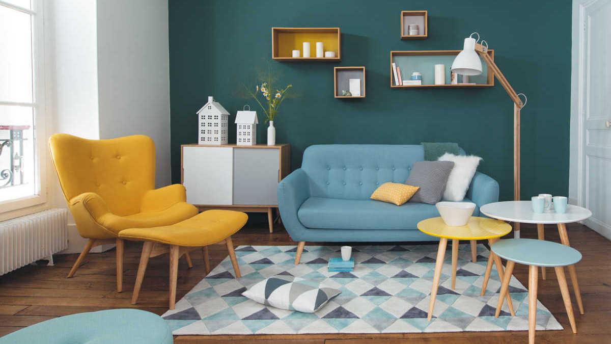 Déco salon bleu et jaune