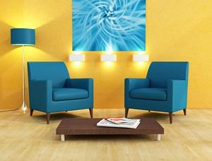 exemple déco salon bleu et jaune