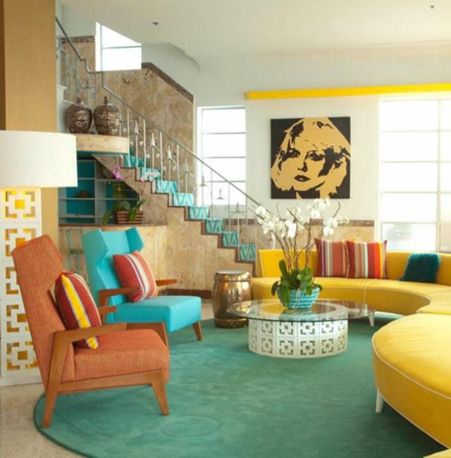 organisation déco salon bleu et jaune