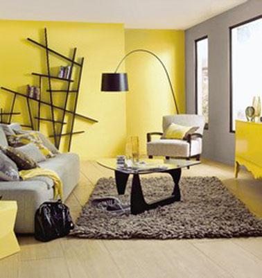Déco salon jaune et marron