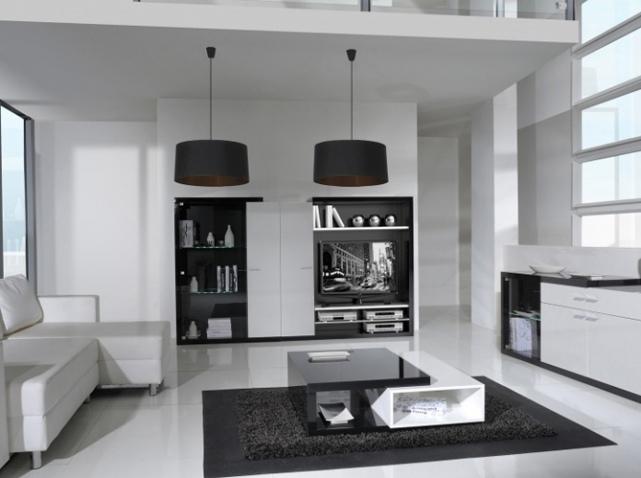 Déco salon meuble noir