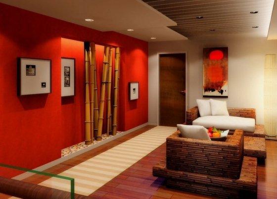 aménagement déco salon zen bambou