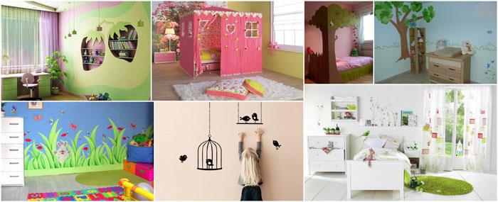 aménagement décoration chambre bebe theme jardin