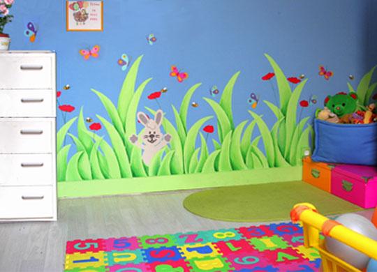 agencement décoration chambre bebe theme jardin