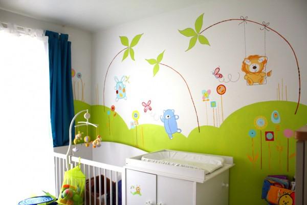 modèle décoration chambre bebe theme jardin