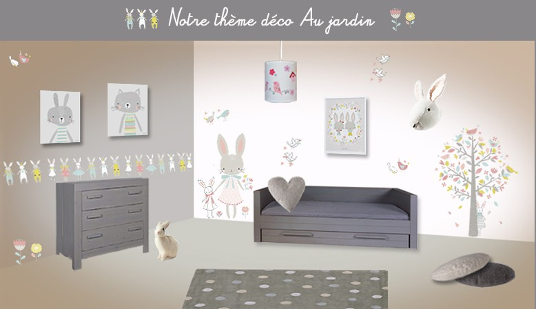 organisation décoration chambre bebe theme jardin