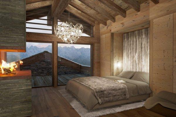 exemple décoration chambre bois montagne