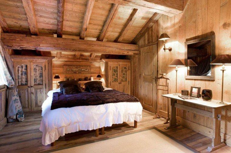 organisation décoration chambre bois montagne