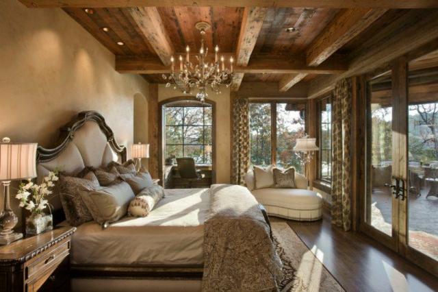 photo décoration chambre bois montagne