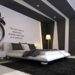 exemple décoration chambre moderne noir blanc