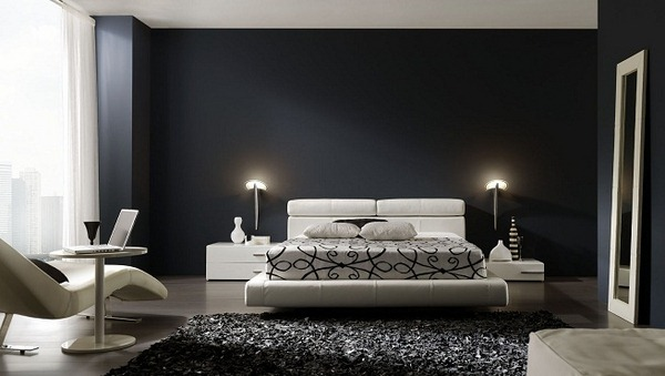 univers décoration chambre moderne noir blanc