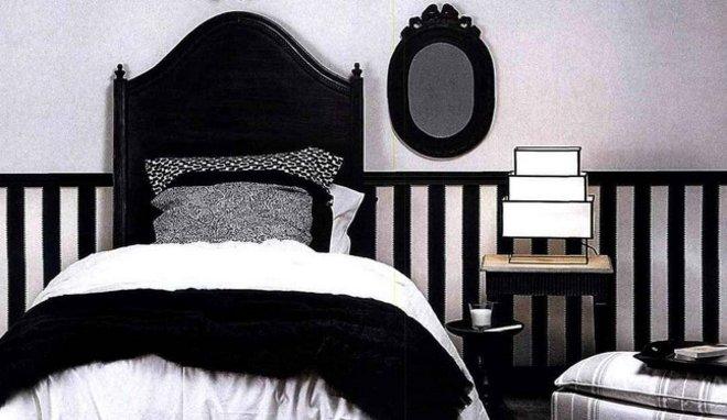 agencement décoration chambre moderne noir blanc