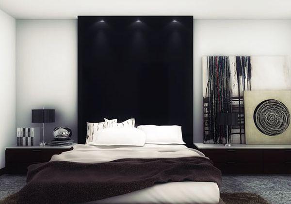 photo décoration chambre moderne noir blanc