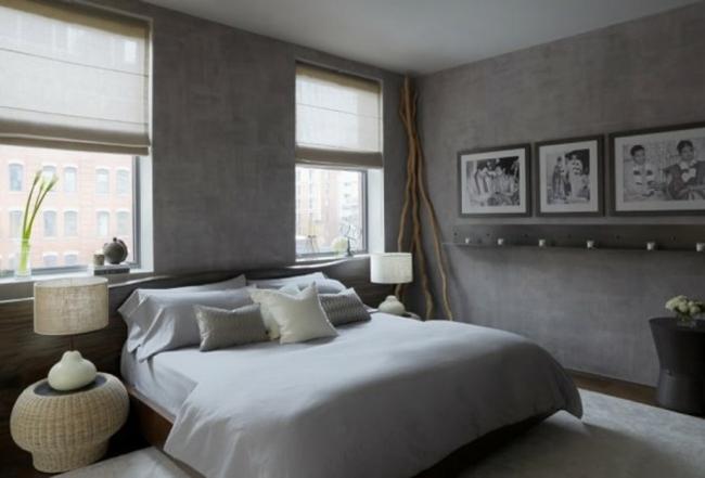 aménagement décoration chambre mur gris