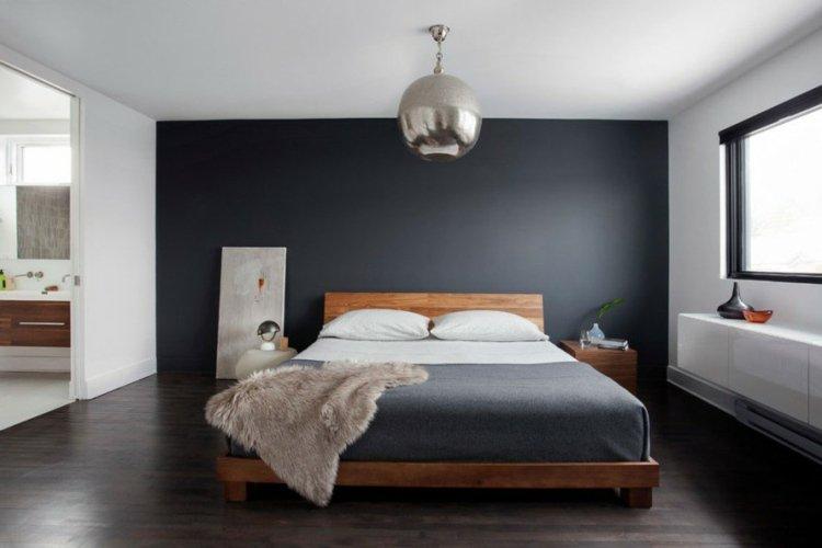 exemple décoration chambre mur gris