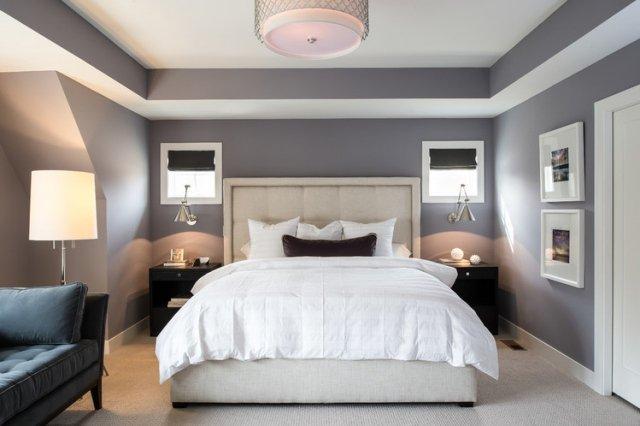 agencement décoration chambre mur gris