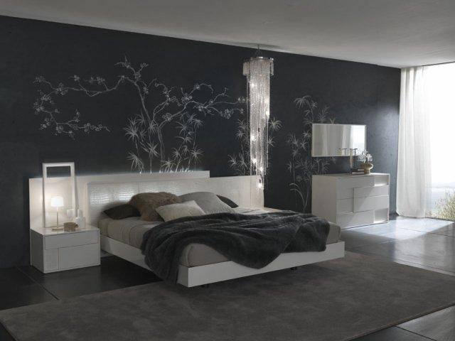 modèle décoration chambre mur gris