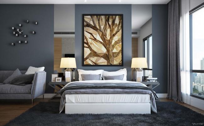 photo décoration chambre mur gris