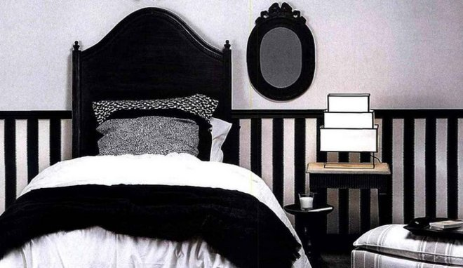 idée décoration chambre noire et blanc