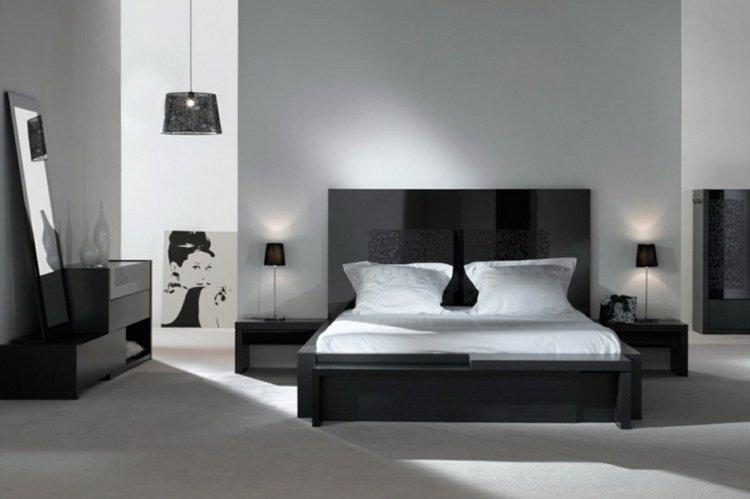 univers décoration chambre noire et blanc