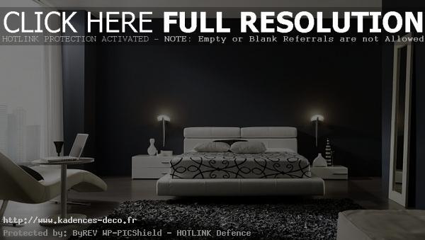 modèle décoration chambre noire et blanc