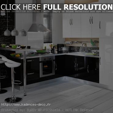 modèle décoration cuisine blanc noire